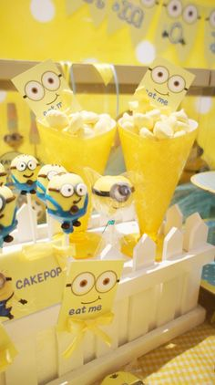 Check out the minion cake pops at this Despicable Me birthday party!  @Kristin Elliott you need to do something like this for Arlene!