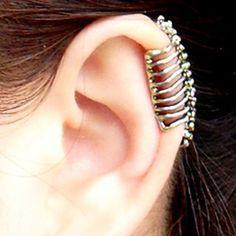 Punk Skull Spine Ear Bones Clip Fashion Earrings - Womens Accessories - ByGoods.com