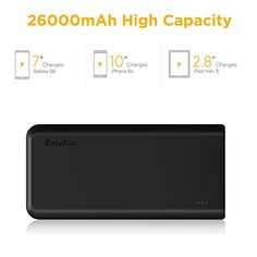 EasyAcc Monster 26000mAh Power Bank(4A Input 4.8A Smart Output) External Battery Charger Portable Charger for Android Phone Samsung HTC Tablets – Black and Orange  Just One Enough On-The -Go   26000mAh capacity yet very portable, it is perfect for trips or whenever you need to charge your iPhone, iPad and other mobile devices. e.g. Business trip,traveling,parties, BBQs and outdoor activities like camping, mountain climbing and picnics.      Spacious Capacity   26000mAh can charge an ..