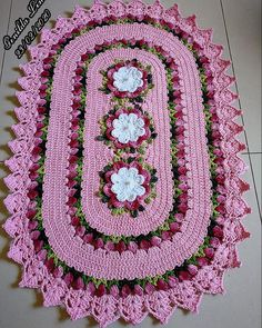 Crochet Books, Diy Crochet, Crochet Table Mat, Afghan Crochet Patterns, Soft Furnishings, Make It Yourself, Rugs, Floral, How To Make