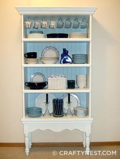 Looking for bookshelf ideas for that flea market or thrift store find? Here are 25 DIY bookcase makeovers you have to see.: Turn a Bookcase into a China Hutch