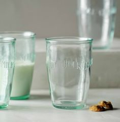 Anthropologie Euro Milk Glasses ($24): No one says you have to drink milk out of these rustic imprinted glasses. You'll look just as stylish even if you sip water or cocktails from these multi-lingual cups.