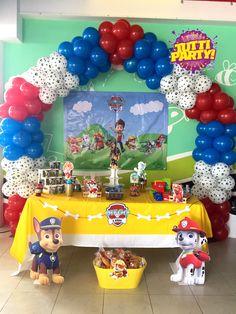 Paw patrol arch balloons decorations, paw patrol Party decorations, balloons ideas paw patrol, arco de globos paw patrol, decoración patrulla canina, dog Party decorations