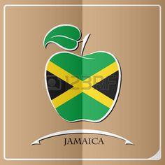 Logotipo de la manzana hecho de la bandera de Jamaica-.