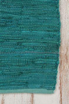 4x6 solid rag rug- turquoise
