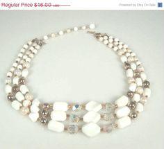 Vintage Three Strand Milk Glass Crystal Necklace Marked Japan #etsymntt #brooch