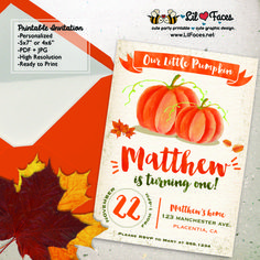 Watercolors Pumpkin Birthday Party Printable Invitations First birthday…