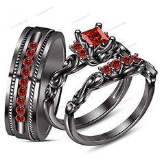 His & Her 14k Black Gold Fn 925 Silver Princess Cut Garnet Wedding Trio Ring Set