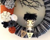 "Limited Edition Bride of Frankenstein Wreath, Black, White Orange and Gray Halloween Wreath 14"" Custom Order Only"