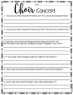 Music Performance Self Evaluation Worksheets Band  Orchestra