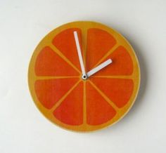 orange wall clock from uncovet #juicy