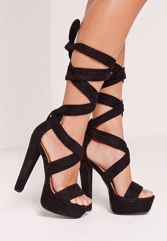 Missguided - Wrap Around Platform Sandals Black