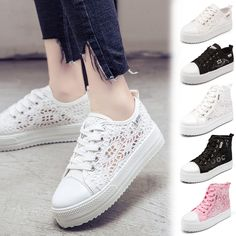 95c451a34a Womens Lace Round Toe Hollow Platform Wedge Shoes Lace Up Sneakers Shoes Zbl