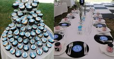 Claire and Anthony's cupcake tower - for a music themed wedding at Mofam River Lodge, Elgin Valley River Lodge, Lodge Wedding, Claire, Wedding Cakes, Cupcake, Tower, Weddings, Table Decorations, Music