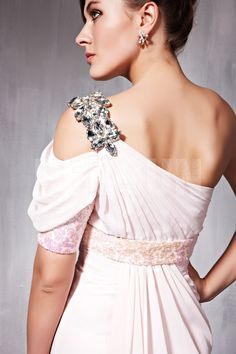 Beading Off Shoulder Organza Sheath Formal Evening Dress Sale Online - DRESSESMALL