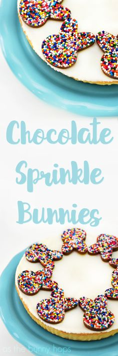 Dress up your cheesecake for Easter: it's fun to make these cute chocolate sprinkle bunnies!