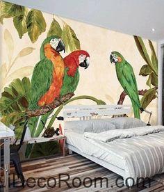 Pastoral Retro Tropical Rainforest Three Parrot oil painting effects wall art wall decor mural wallpaper wall s Murals Street Art, Mural Art, Wall Murals, Wall Art Decor, Disney Canvas Art, Deco Marine, Garden Mural, Stencil Painting On Walls, Wall Wallpaper