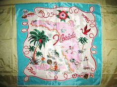 Large Vintage 50s Rayon Scarf Florida Souvenir by AireginVintage