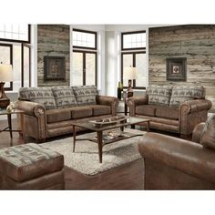 The American Furniture Classics Deer Teal Lodge 4 Piece Sofa Set is a one-step way to transform your living room into a relaxed lodge-style getaway. 4 Piece Living Room Set, New Living Room, Living Room Sets, Living Room Interior, Living Room Chairs, Small Living, Shabby Chic Furniture, Rustic Furniture, Rustic Sofa