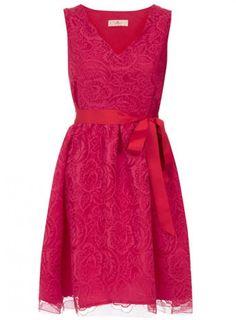Fuchsia V neck dress