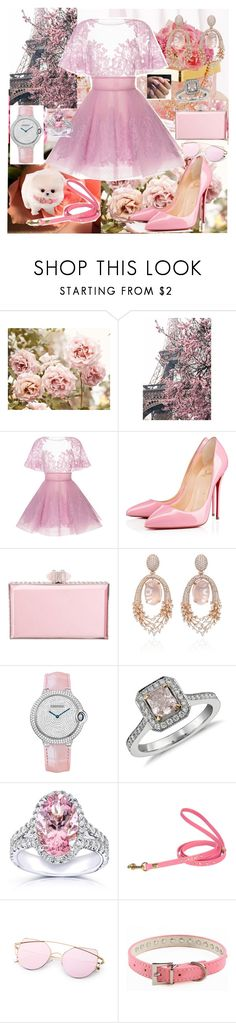"""Untitled #592"" by sophieisbrilliant ❤ liked on Polyvore featuring WALL, Aime, Christian Louboutin, Judith Leiber, Hueb, Cartier, Blue Nile and Kobelli"