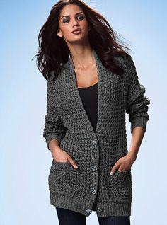 the boyfriend cardigan sweater in charcoal heather from VS Boyfriend Cardigan, Cozy Fashion, Stay Warm, What To Wear, Style Me, Sweaters For Women, Cute Outfits, Victoria Secret, Pullover