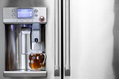 A Keurig coffee maker built into the new GE Cafe French refrigerator Best Refrigerator, French Door Refrigerator, Kitchen Gadgets, Kitchen Appliances, Kitchens, Kitchen Tools, Appliance Repair, Keurig, Gourmet