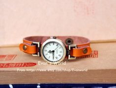 Men Woman Orange Leather Wristwatch Retro Style by Evanworld, $15.99 Beautiful handmade watches, gifts.