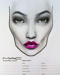 MAC face chart by Amalia Bot b&w with mineralize rich lipstick Makeup Inspo, Makeup Art, Beauty Makeup, Hair Beauty, Drugstore Beauty, Pink Lipsticks, Mac Lipstick, Pink Pigeon, Mac Face Charts