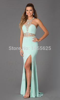 Halter Sleeveless Beads Crystal Rhinestones Mint Green Long Prom Dresses New 2015 Sexy Slit Party Prom Gown Vestidos de Festa