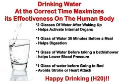 Health tip: Drinking water at the correct time maximizes its effectiveness on the human body.  Take a note!