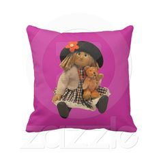 Doll with Teddy American MoJo Pillow