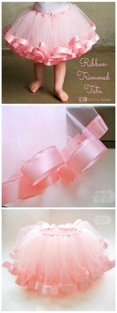Diy Crafts Ideas : Ribbon Trimmed Tutu Tutorial  https://diypick.com/decoration/decorative-objects/crafts/diy-crafts-ideas-ribbon-trimmed-tutu-tutorial/