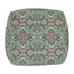 Abstract colorful hand drawn curly pattern design outdoor pouf