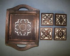 Borneo Craft and Design--Set Tray and Coasters.Tribal Longhouse Art and Craft on Etsy, $44.33 AUD