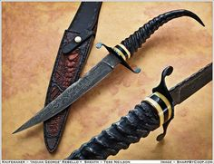 Photos - SharpByCoop's Gallery of Handmade Knives Swords And Daggers, Knives And Swords, Knife Art, Damascus Knife, Cool Knives, Metal Engraving, Knife Sheath, Knife Handles, Handmade Knives