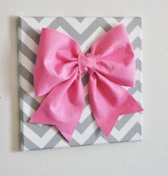 pink and grey chevron canvas | Large Pink Bow on Gray and White Chevron 12 x12 ... | She's Crafty ...