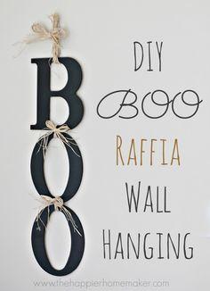 DIY BOO raffia wall hanging...looks easy an so cute!