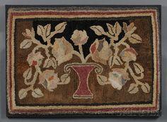 Pictorial Hooked Rug Depicting a Vase-form Basket of Flowers | Sale Number 2585B, Lot Number 540 | Skinner Auctioneers
