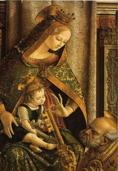 CARLO CRIVELLI (1435 – 1495) |  Detail - Virgin and Child Enthroned with Saints.