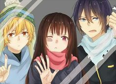 Yukine, Hiyori, Yato, glass mirror screensaver; Noragami
