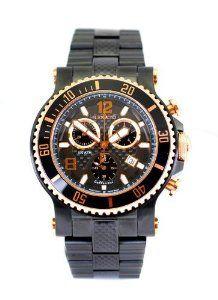 Renato Gents T-REX Diver Steel & Carbon Fiber Swiss Made Quartz Chronograph Black IP Rose Gold 100 ATM Watch Renato. $439.00