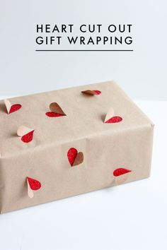 Heart cut out gift wrapping:)