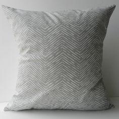 New 18x18 inch Designer Handmade Pillow Case grey chevron pattern.