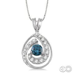 Blue and White Diamond Pendant in 14K White Gold - Such a beautiful trend! #BeautifulInBlue