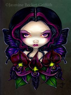 ❤  Black Orchid Fairy - Jasmine Becket-Griffith : from artist ; Technically black orchids are more of a deep velvety violet colour, but they look pretty black as far as flowers go.
