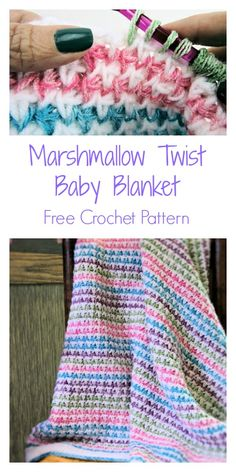 Marshmallow Twist Baby Blanket Free Tunisian Crochet Pattern Marshmallow Twist B. Tunisian Crochet Blanket, Tunisian Crochet Patterns, Crochet For Beginners Blanket, Baby Blanket Crochet, Crocheted Baby Blankets, Crochet Afghans, Crochet Granny, Manta Crochet, Baby Afghans