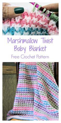 Marshmallow Twist Baby Blanket Free Tunisian Crochet Pattern Marshmallow Twist B. Tunisian Crochet Blanket, Tunisian Crochet Patterns, Crochet For Beginners Blanket, Baby Blanket Crochet, Crochet Baby, Free Crochet, Crochet Blankets, Crochet Afghans, Crochet Granny