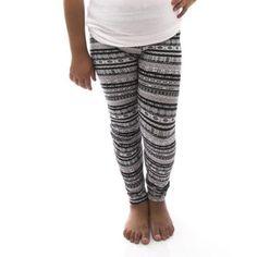 97b75d0832 Girl s Black Tribal Print Leggings Medium Size (M) - Black Tribal