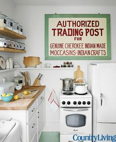 Peek inside the home of one of our favorite editors, Country Living Luxury Appliances, Small Home Offices, Cute Kitchen, Kitchen Inspirations, Kitchen Decor, Small Kitchen, Vintage Kitchen, Slate Appliances Kitchen, Kitchen Makeover
